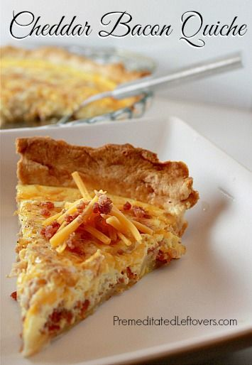 This Cheddar Bacon Quiche recipe comes   together quickly. This quiche recipe is very flexible allowing you to use what   ever ingredients you have on hand.