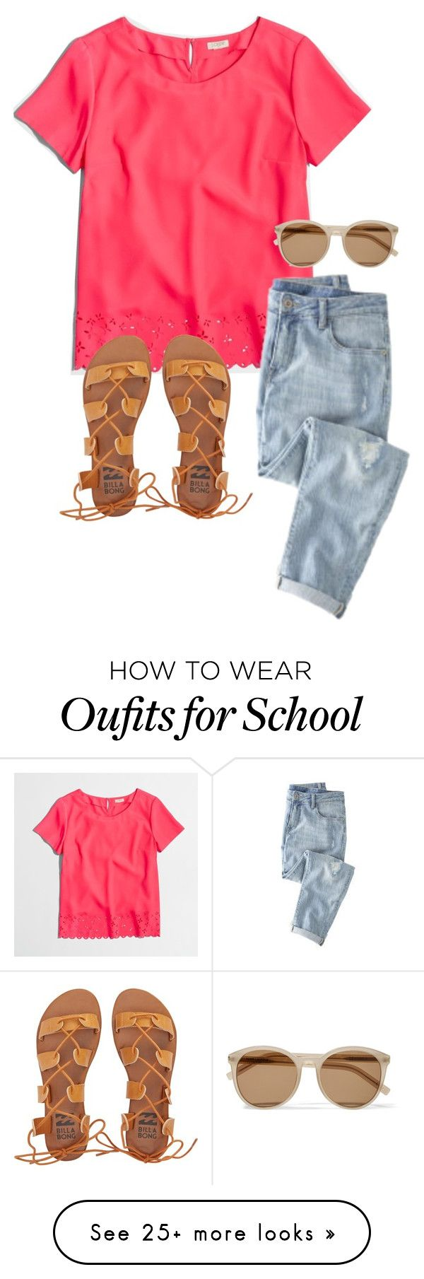 """""""school"""" by alexatesh on Polyvore featuring J.Crew, Wrap, Billabong and Yves Saint Laurent"""