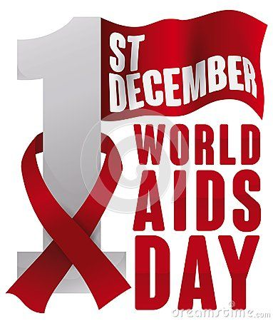 Poster with a waving flag in the top of number one and a red ribbon around it for World AIDS Day celebration in December 1.
