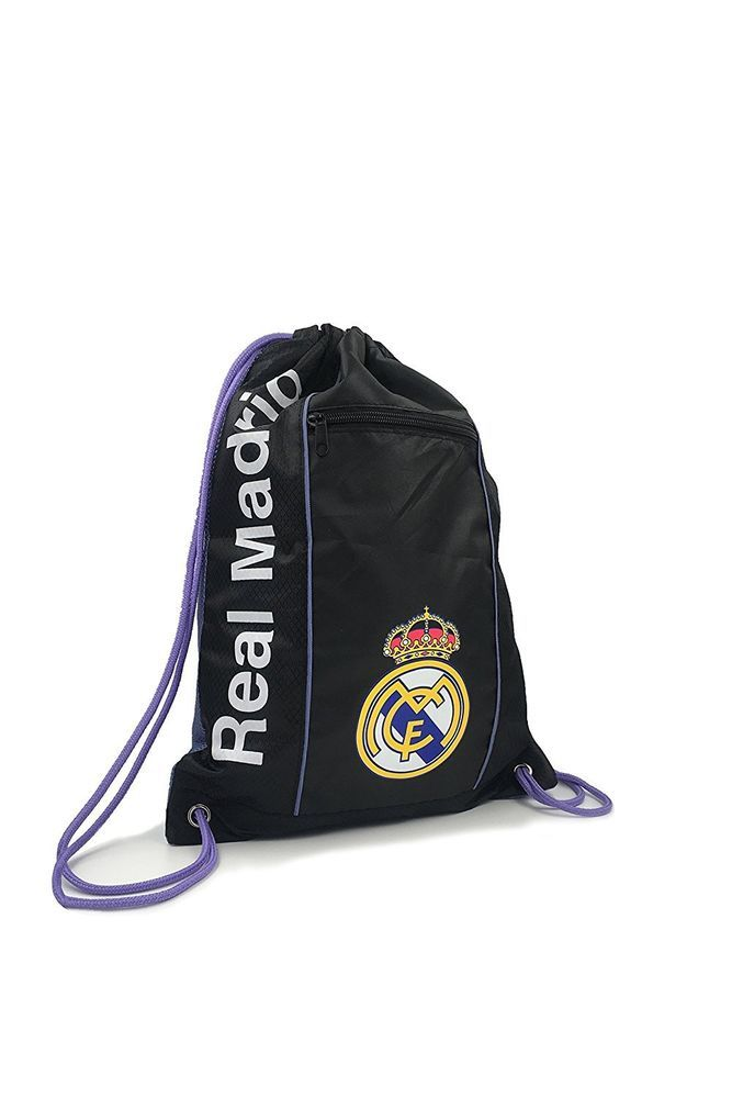 Real Madrid Cinch Bag Sack Soccer Book  Backpack Authentic Official Black Purple #Icon #RealMadrid