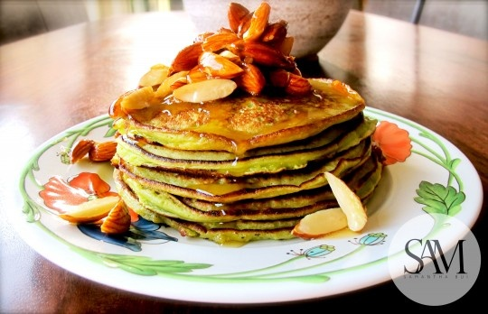 Avocado Pancakes with Salted Honey Almonds