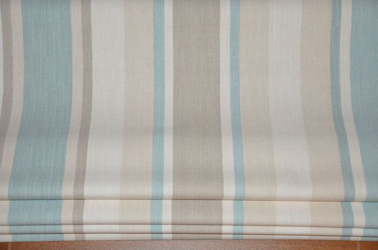 ROMAN BLIND Made to Measure ~ Laura Ashley Fabric AWNING STRIPE DUCK EGG BLUE More