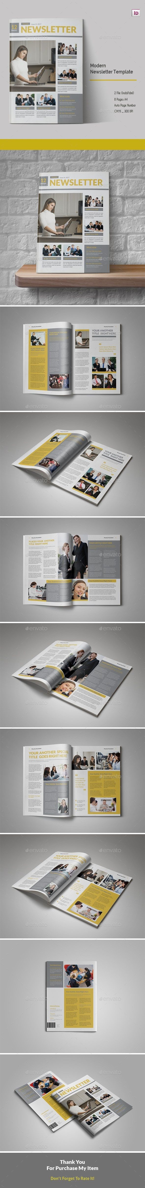 Modern #Newsletter Template - Newsletters Print #Templates Download here: https://graphicriver.net/item/modern-newsletter-template/19356792?ref=alena994