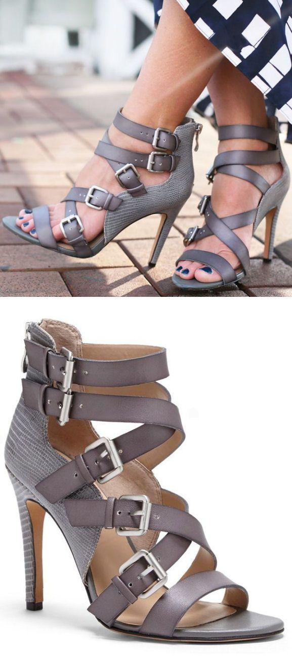 Grey Strappy Buckle Heels //