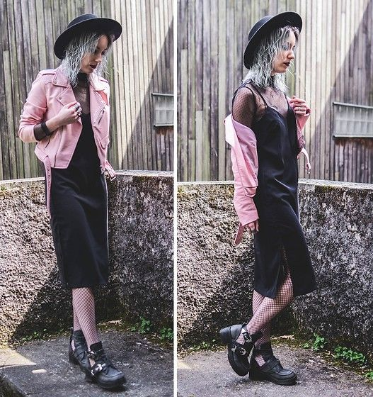 Get this look: http://lb.nu/look/8723257  More looks by Saskia B.: http://lb.nu/x11h30  Items in this look:  Zara Pink Perfecto, H&M Midi Dress, Jeffrey Campbell Shoes Coltrane, Morgan Lace Top, Asos Fishnet Tights   #edgy #grunge #minimal #zara #perfecto #pastel #mididress #blackdress #fishnets