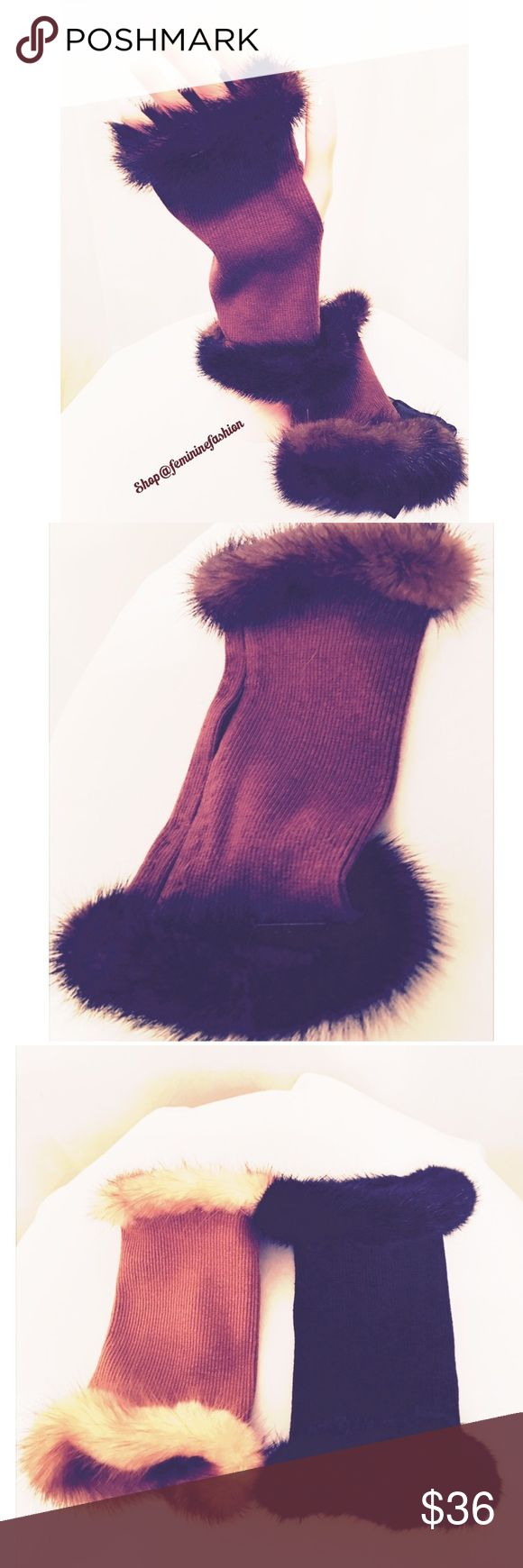 Brown Mink Trimmed Fingerless Gloves Glamorous Brown Mink Trimmed Fingerless Gloves. Glove fabric is finely ribbed and has some stretch. Also available in black or camel in this closet. Truly elegant🌹 Dana Stein Accessories Gloves & Mittens