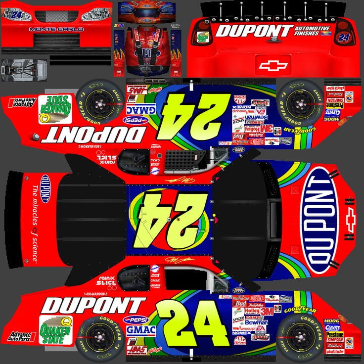 In response to the several folks who asked about these images here - they begin life as layered PSD files (as in +100 layers) on templates like the one seen here. All the images, numbers, sponsor decals, colors, etc. are done (mostly as vector images) there in Photoshop. Then a flattened image is imported into Nascar Racing 2003 and applied to the wireframe car models already there. The 3D renders are the final product of what this flat template becomes in the game.