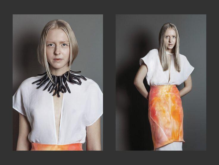 My BA Womenswear collection   Spring 2016   Coral Kensho   Photo: Jonas Hjermitslev Gregersen   Model: Clara Roersig - CPH Nordic   Makeup: Mihaela Luca   Design: LOUISE/ANDERSEN
