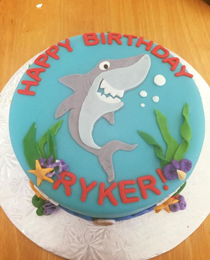 Undersea cake with shark and coral.   #caking #shark