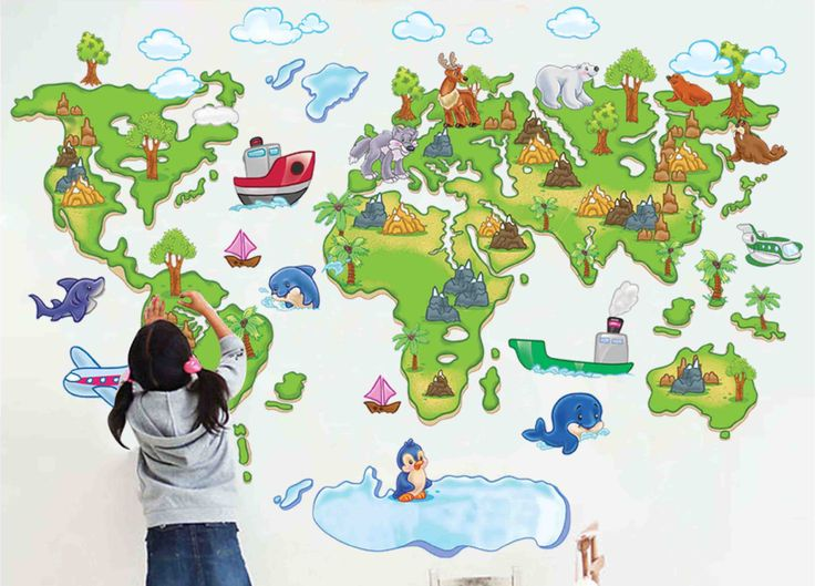 56 best maps images on pinterest world maps worldmap and the map cheap sticker wall murals buy quality stickers pain directly from china stickers purple suppliers green world map cartoon animals wall sticker kids room gumiabroncs Gallery