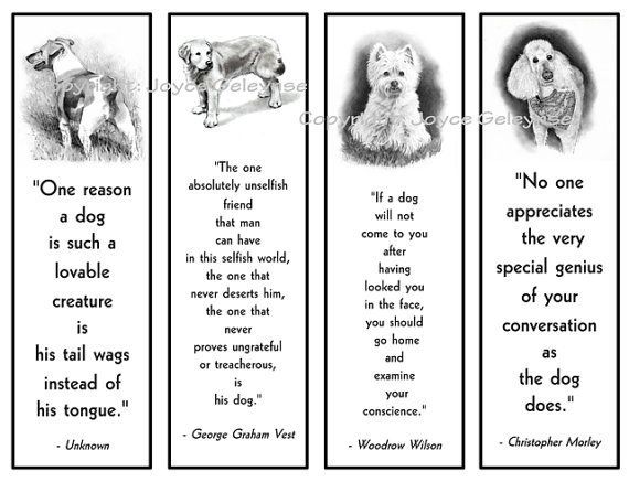 Printable Bookmarks Dogs in Pencil