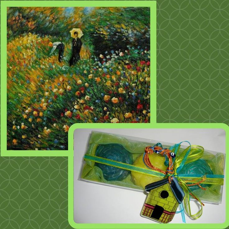 """""""Woman With A Parasol In A Garden"""" - A very beautiful work of impressionist painter Pierre-Auguste Renoir.  What a beautiful spring scenery! It inspired me to make my relevant color gift set """"Spring Garden"""". Luxury Green, Azure, Yellow Handmade Novelty Spa Gift Set with three floral Glycerin Scented Soaps and a lovely handmade glass ornament in the packaging."""