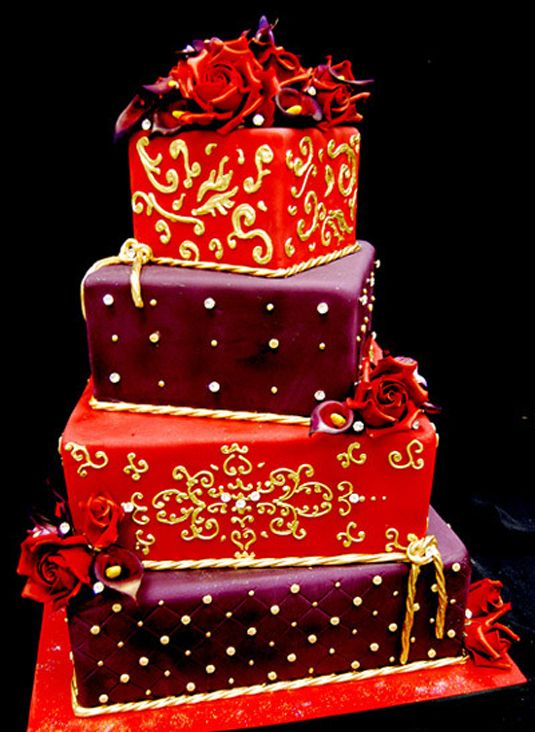 Red And Purple Wedding Cake