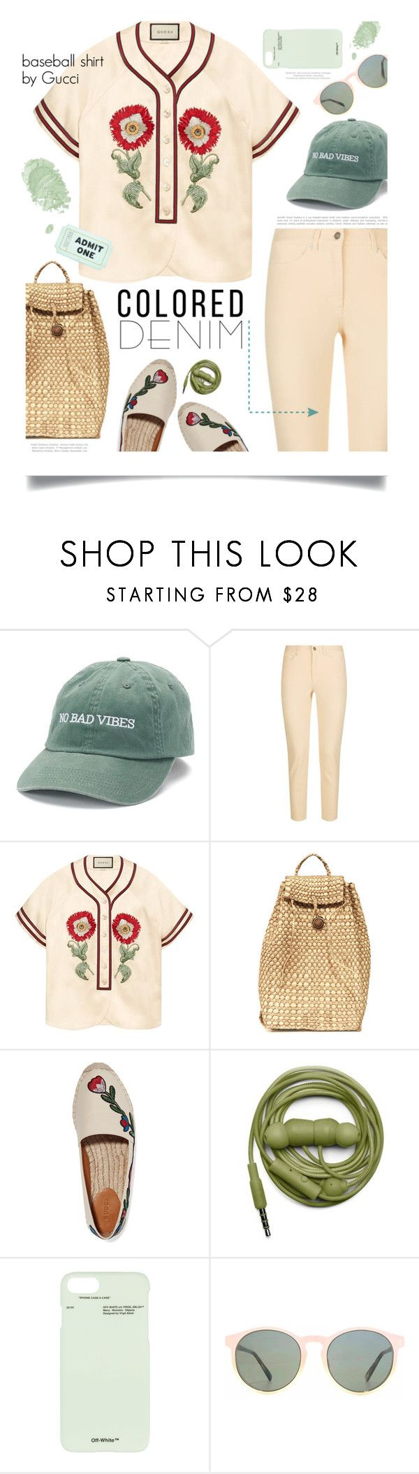 """Spring Training."" by s-elle ❤ liked on Polyvore featuring madden NYC, Escada Sport, Gucci, Urbanears, Off-White, HOOK LDN, Nails Inc., Kate Spade and coloredjeans"