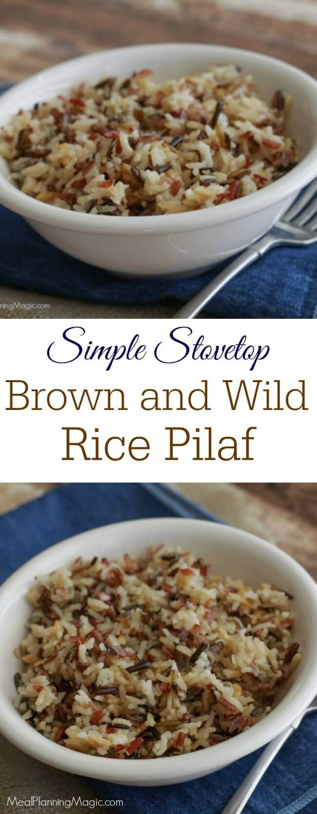 With only four ingredients including flavorful Parmesan cheese, this Simple Stovetop Brown and Wild Rice Pilaf is a perfect addition to any meal and full of flavor too! Recipe at MealPlanningMagic.com