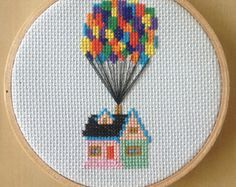 Up House with Balloons Cross Stitch Pattern by MoragsCrossStitch