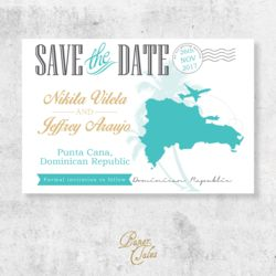 Teal and Gold, Dominican Republic, Destination Wedding, Save the Dates // DIGITAL