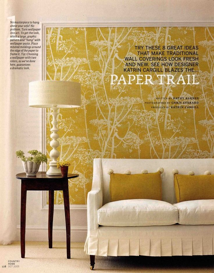 Renting? Why not frame a panel or two in a really beautiful wallpaper. It's cost effective and makes the same bold statement without the permanence. Cole & Son - Cow Parsley is shown here, we think the yellow really pops.   available at walnut wallpaper #wallpaper
