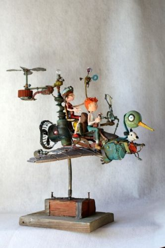Repurposed Junk Art - Gerard collas, assemblies, migratory birds, sculpture