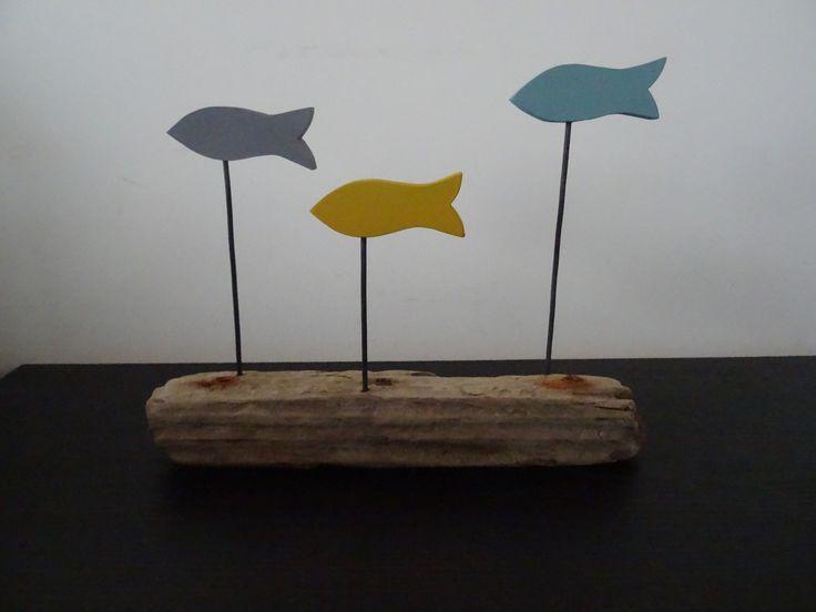 Décoration banc de 3 poissons bois flotté gris moutarde et vert-bleu : Accessoires de maison par c-driftwood-bois-flotte