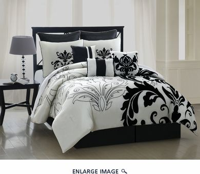 The White Is A Shimmery Pearl And The Large Black Floral Design Is Velvet.  Well Worth The Price! 13 Piece Cal King Arroyo Black And White Bedding ...