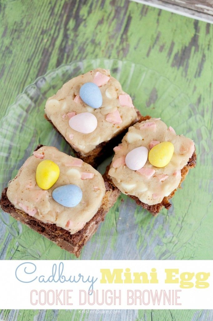Easy Cadbury Mini Egg Cookie Dough Brownie Recipe! Perfect for Easter treat! Grab the recipe on Capturing-Joy.com!