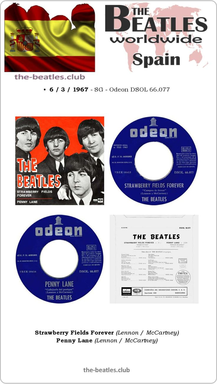 The Beatles Spain Single Odeon DSOL 66.077 Strawberry Fields Forever Penny Lane Lyrics Vinyl Record Discography