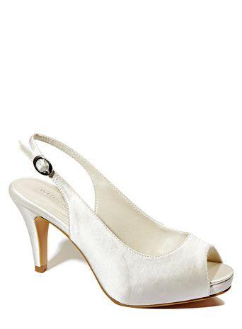 Ivory Wedding Collection Wide Fit Satin Platform P Toe Slingback Shoe