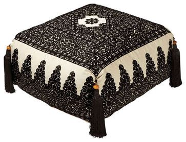 Moroccan Poufs Linen Embroidery Pouf - mediterranean - Ottomans And Cubes - Moroccan Prestige