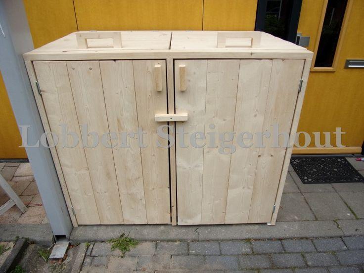 Steigerhouten container ombouw 240 liter stijgerhout container pinterest - Amenager helling ...