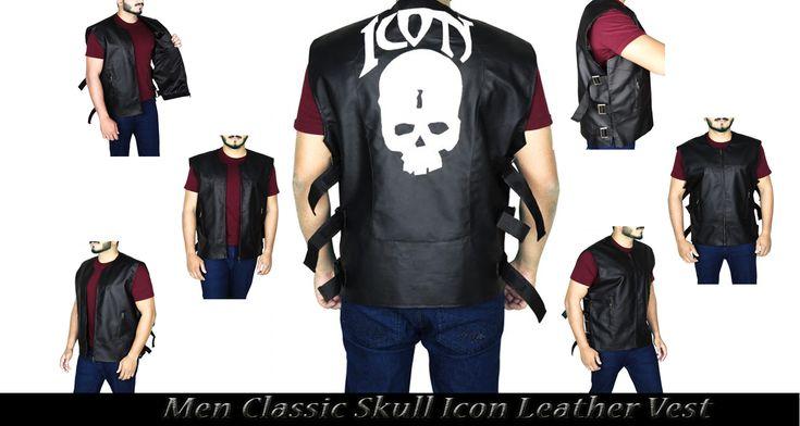 Men Classic Skull Icon Leather Vest