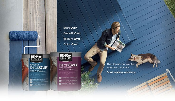 Complete a deck resurfacing do-over with Behr DeckOver regular and textured paints for wood and concrete. Roll it on for a lasting, impactful color coating. Color: Atlantic