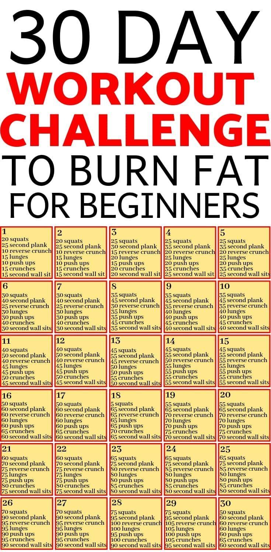 30-Tage-Workout-Herausforderung, Fett für Anfänger zu verbrennen