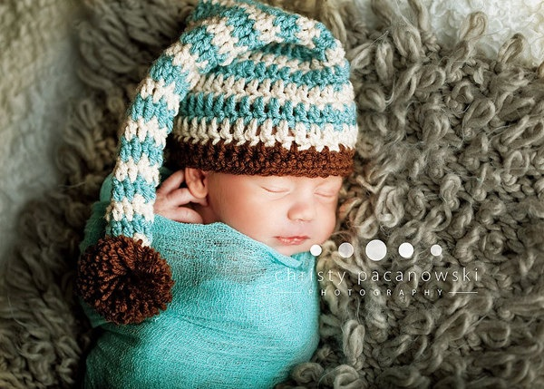 Striped Elf Hat   Cheesecloth Wrap Newborn Baby Boy or Girl Photography Maternity Photo Prop
