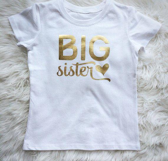 Big Sister. Sibling top. Metallic gold. Siblings. Big sis .