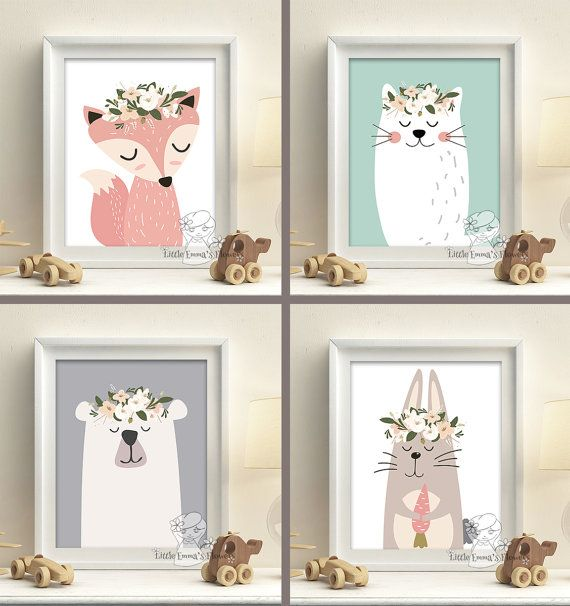 Woodland Animals Nursery Art Prints setzen Pastellfarben Baby-Girl-Wand Dekor Kinderzimmerdruck Fuchs tragen Wald digitale Kunst 7