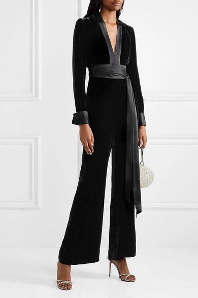 c28ae0091a5a Diane von Furstenberg Satin-trimmed Velvet Jumpsuit - Black in 2019 ...