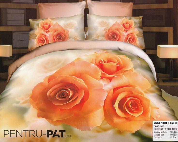 Lenjerie de pat bumbac dublu satinat de lux Casa New Fashion 3D cu trandafiri