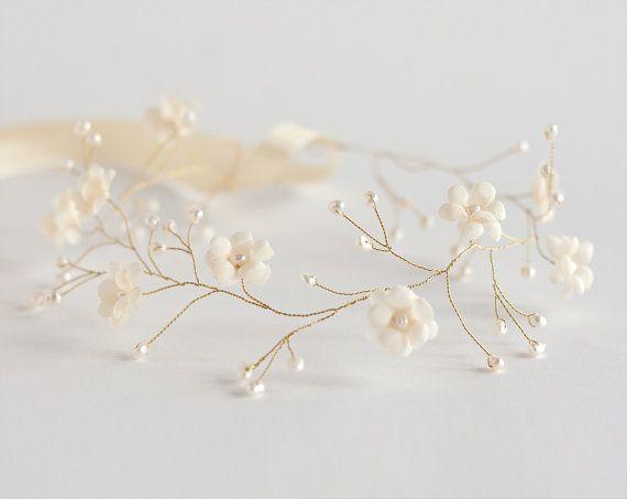 Flower head wreath Wedding tiara wedding hair by ArsiArt on Etsy, $43.00