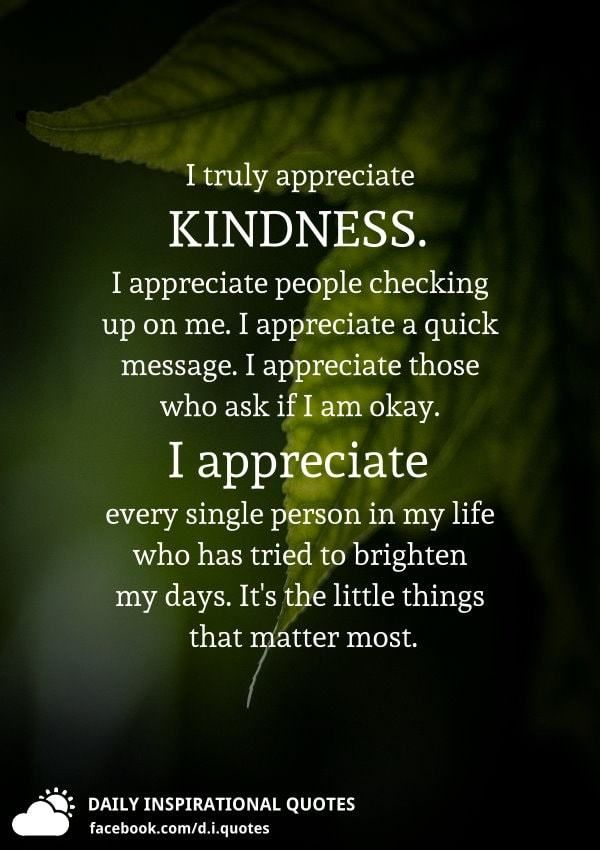 I Truly Appreciate Kindness I Appreciate People Checking Up On Me I Appreciate A Quick Message I Appreciate Life Quotes Appreciate You Quotes Effort Quotes