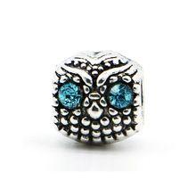1 шт. бесплатная доставка голубой глаз горный хрусталь сова европейский мода бусины сплав серебра бусины Fit пандора браслеты и ожерелье(China (Mainland))