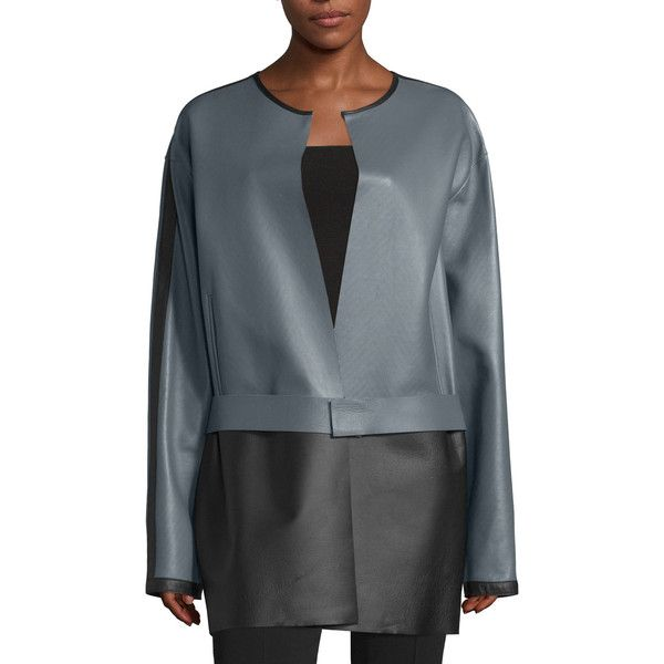 CoSTUME NATIONAL Colorblock Leather Jacket ($2,245) ❤ liked on Polyvore featuring outerwear, jackets, grey, 100 leather jacket, gray leather jacket, leather straight jacket, costume national jacket and color block jacket