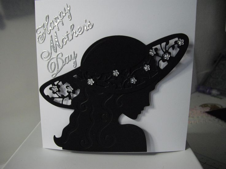 Tonic studio Millinery die. Black silhouette on white card with Cheery Lynn Happy Mother's Day dies.