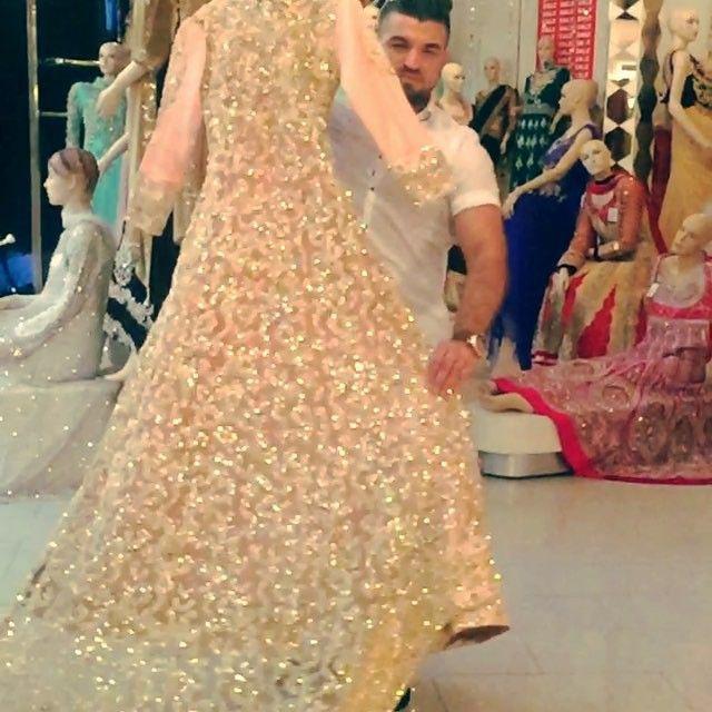 Remember _ Golu keeps you in style. One of our lovely bride Walima Gown. #goludesigner #swarovskistones #گولو #gown #bridalwear #goluKeepsYouInStyle #customer