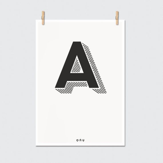 Lettered - initial Scandinavian inspired typography art print