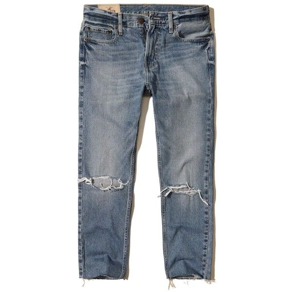 Hollister Classic Taper Crop Jeans ($60) ❤ liked on Polyvore featuring men's fashion, men's clothing, men's jeans, ripped medium wash, mens tapered jeans, mens faded jeans, mens destroyed jeans, mens cropped jeans and mens slim fit tapered jeans