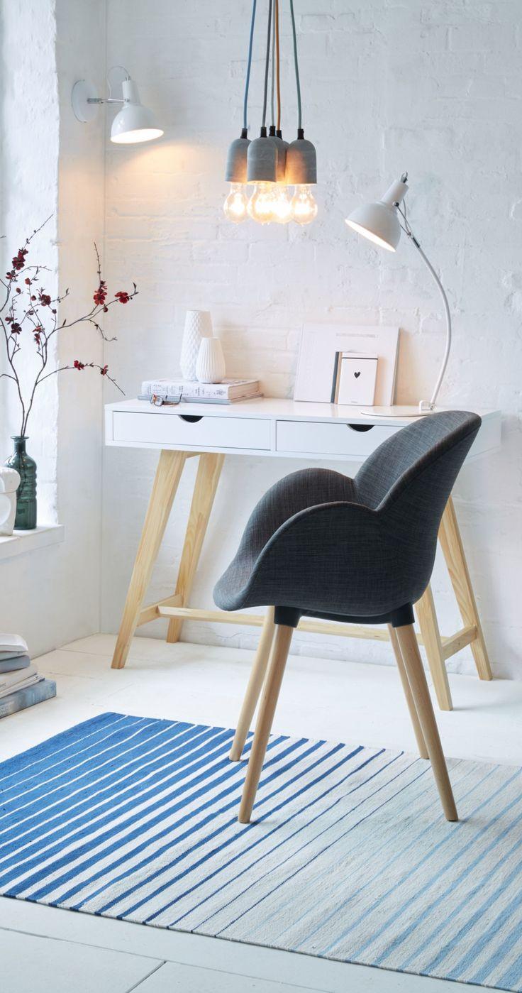 Weißer Konsolentisch im skandinavischen Stil mit 2 Schubladen