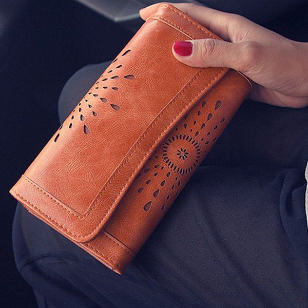 Vintage Hollow Out and Solid Color Design Wallet For Women