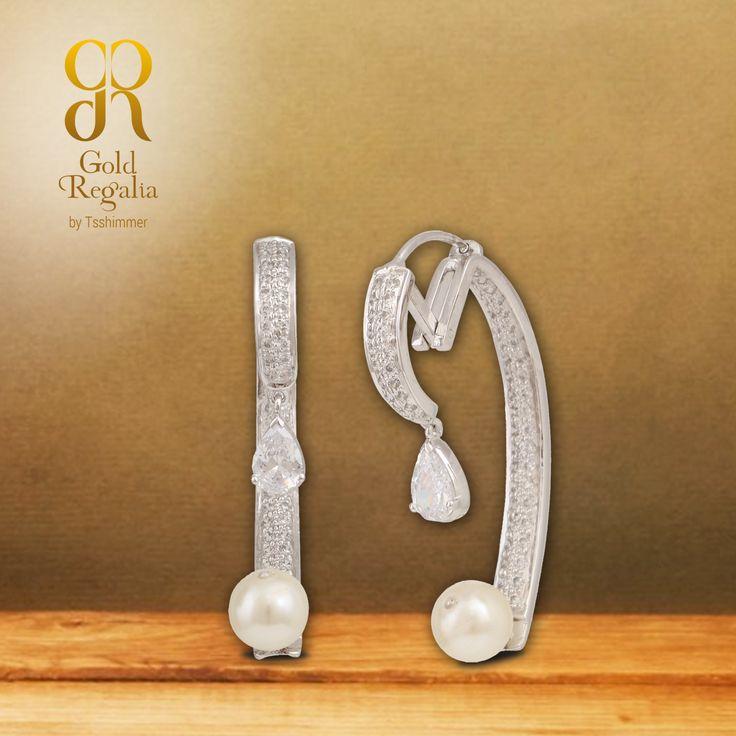 Jessi - #Earrings by Gold Regalia  Get white gold #DiamondEarring delivered in 15 business days. #WhitieGoldJewelry #DiamondJewelry #WomensJewelry #IndianJewelry #GoldRegalia