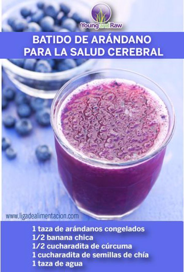 Un batido repleto de antioxidantes que son buenos para el cerebro. #infografias #salud #jugosverdes